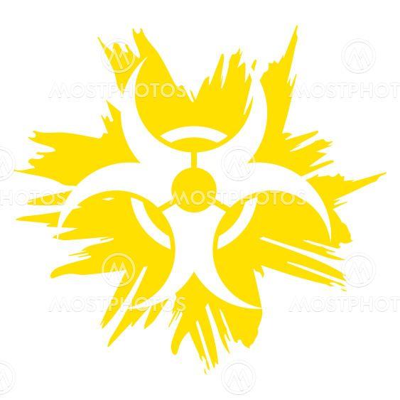 Illustration Grunge biohazard symbol yellow