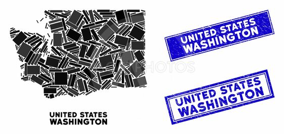 Mosaic Washington State Map and Scratched Rectangle...