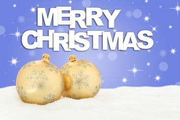 Merry Christmas golden balls background decoration with...