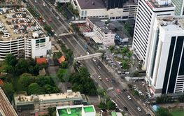 Bird eye view of Traffic in Bangkok
