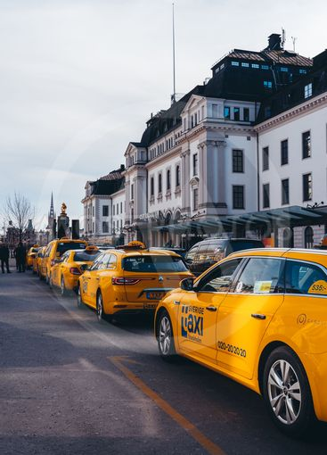 Taxis outside the Central Railway Station waiting in...