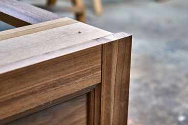 Dresser elements in a workshop. Solid wood chest of...