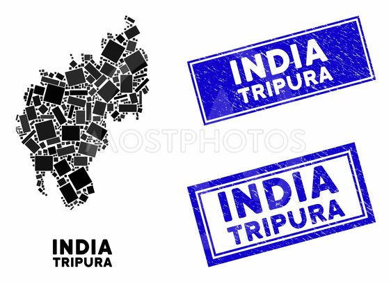 Mosaic Tripura State Map and Scratched Rectangle Watermarks