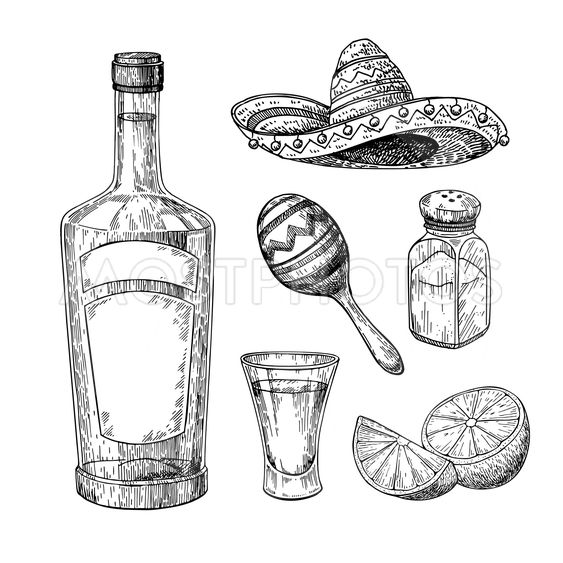 Tequila bottle, salt shaker and shot glass with lime....