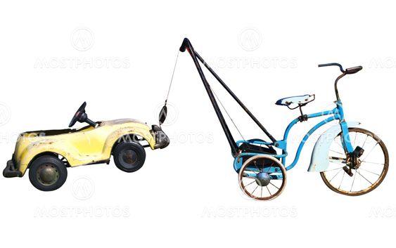 Trike med legetøjet bil...