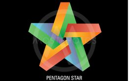 Vector illustration of colorful 3D pentagon star
