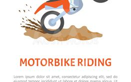 Extreme Sport Motorbike Riding Postcard Vector