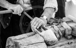 hands of craftsmanmaking traditionals clogs