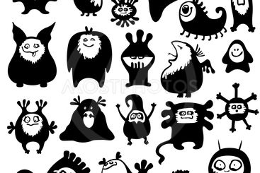 Cute monsters set. Funny fantasy creatures
