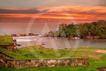 Sea lagoon, a scenic peninsula and the sunset view from...
