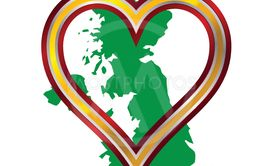 Love United Kingdom Map And Heart
