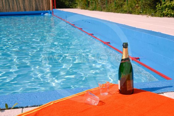 champagne at the swimming pool