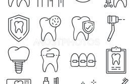 Line icons of dental care and dentist services