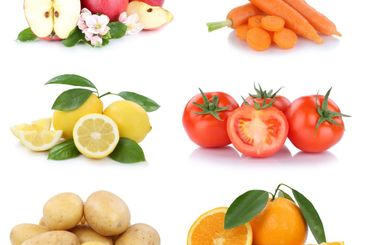Fruits and vegetables collection apples oranges tomatoes...