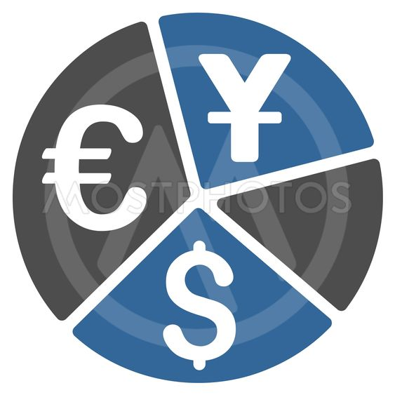 Currency Pie Chart Flat Vector Icon