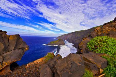 canary islands, la palma : punta santo domingo, roque de...