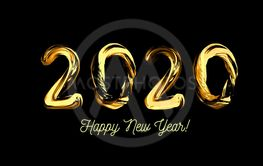 Golden 3d text 2020. Congratulations on the new year 2020