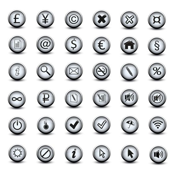 set of icon buttons