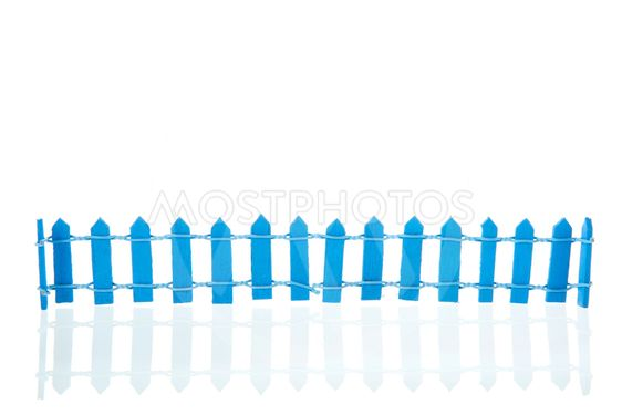 Blue fence on white background