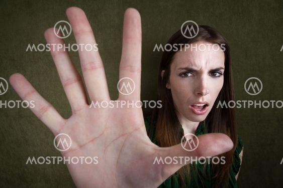 Woman Gestures Stop