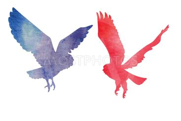 Two owls love watercolor silhouettes