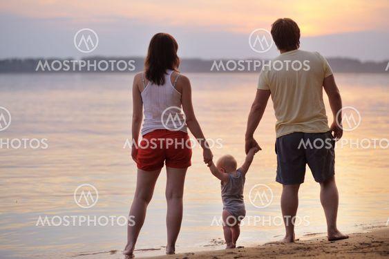 Happy family of three