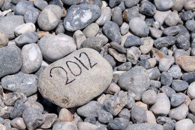 Year of 2012 on flintstone along the coast