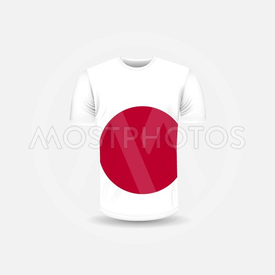 Men's T-shirt icon and Japan flag background.Round neck...