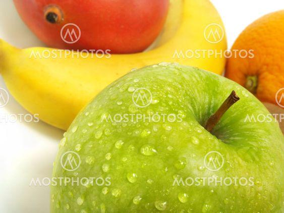 Vihreä Applen, banaani, mango, oranssi
