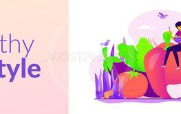Vegetarianism web banner concept.