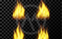Red realistic fire set on a transparent background. for...