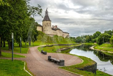 Kremlin in Pskov, Russia. Ancient fortress.