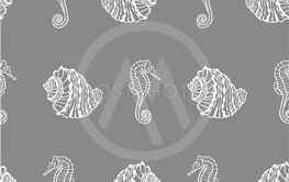 Vector seamless pattern from white seashell and seahorse...
