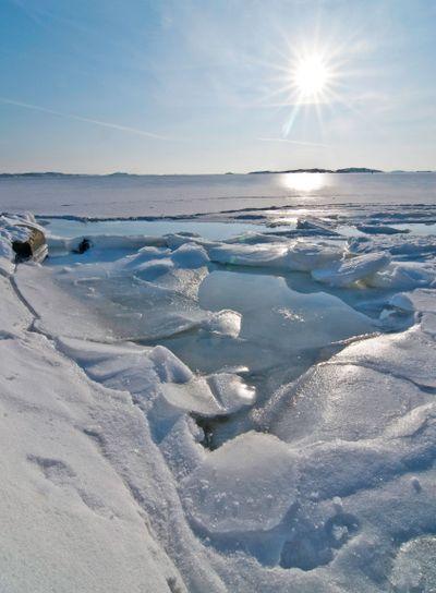 Frozen sea in sunlight