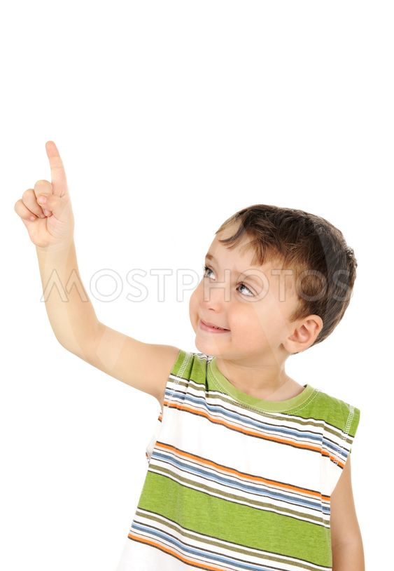 Cute kid looking and finger pointing isolated
