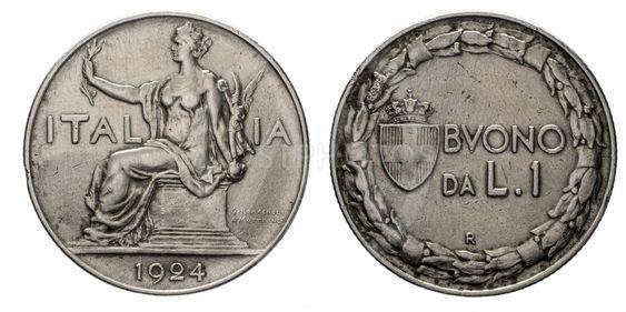 One 1 Lira Nichelio Coin 1924 Buono Vittorio Emanuele III...
