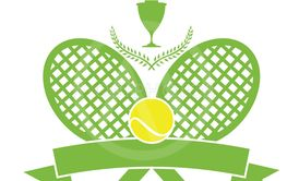 Stock Illustration Tennis Logo with Wreath and Ribbon...