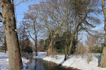 Park in city moers in germany in winter with snow