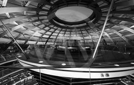 Bundestag parliament dome in Berlin in black and white