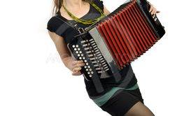Woman accordion front white background
