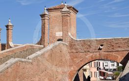 The fortified city walls of the town of Comacchio - Italy