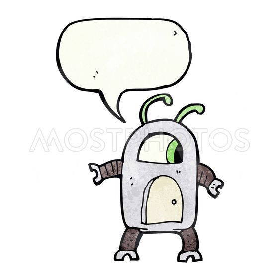 cartoon alien robot with speech bubble