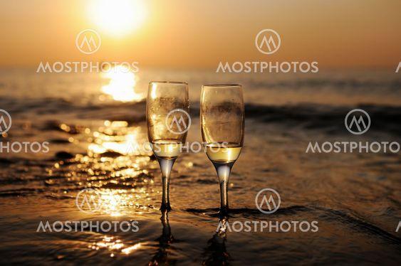 Romantic beach evening on the sunset