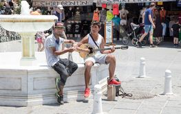 Chania, Crete, Greece - June 27, 2017: Street musicians...