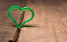 Small green heart shape on a rustic wooden table