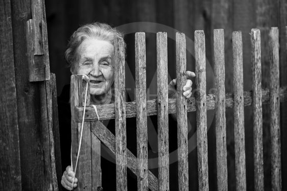 An elderly woman stands behind a wooden fence in the...