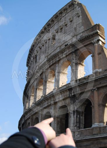 Coliseum at Rome - Tourists indicate it
