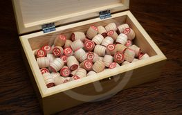 lotto set in wooden box