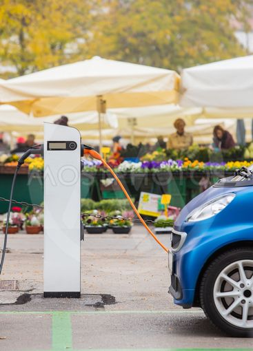 Electric car charging with flowers
