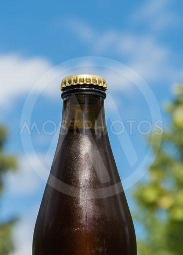 Cool beer bottle by a blue sky